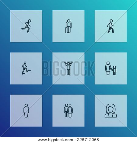 People Icons Line Style Set With Stairs, Happiness, Oldster And Other Mother Elements. Isolated Vect