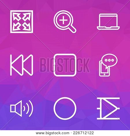 Multimedia Icons Line Style Set With Stop, Widen, Record And Other Circle Elements. Isolated Vector