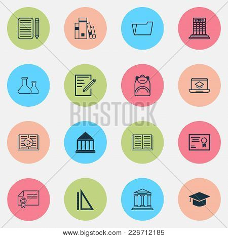 School Icons Set With School Building, Rulers, Diploma And Other Home Work Elements. Isolated Vector