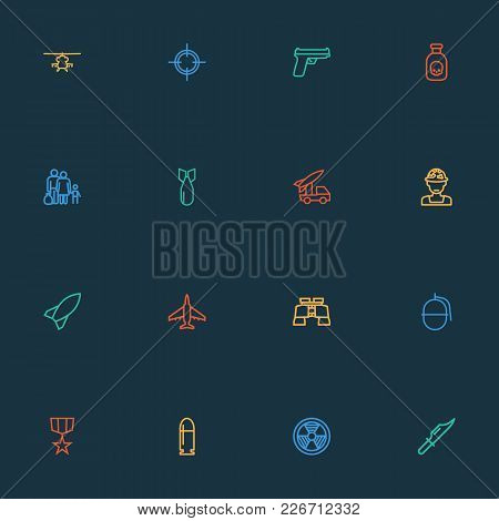 Battle Icons Line Style Set With Fighter, Sniper, Artillery And Other Aircraft  Elements. Isolated V