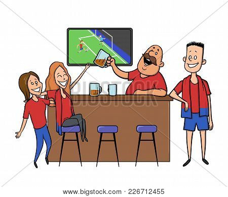 Beer Bar - Restaurant. Football Fans Cheering For The Team In A Bar. Football Match, Bar With Barten
