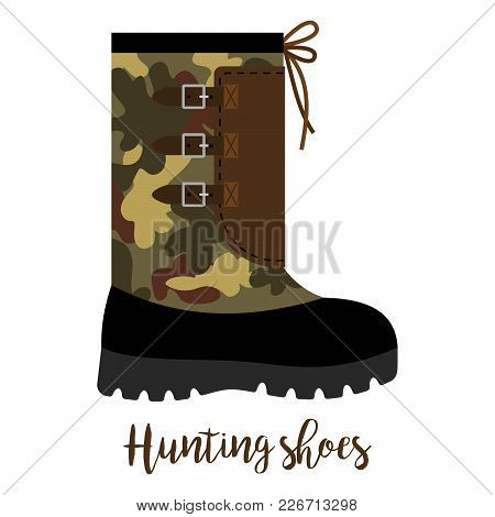 Shoes With Text Hunting Shoes Isolated On The White Background, Vector Illustration