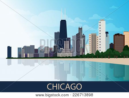 Chicago Downtown Business Area Background With Skyscrapers, Lake Michigan, Park With Green Trees And