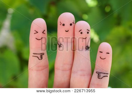 Fingers Art Of People. Concept Woman Taller Than Man, Around Laugh At Them.
