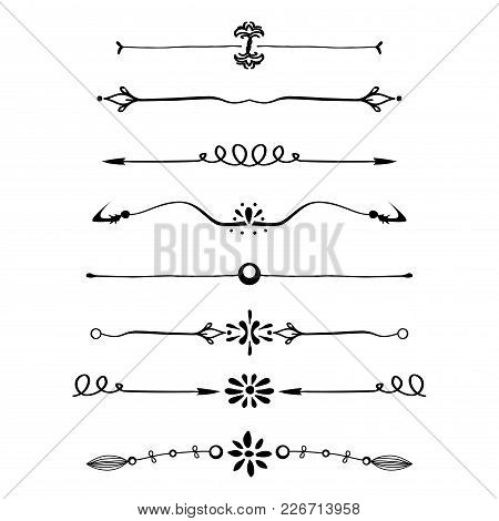 Set Of Calligraphic Design Elements And Page Decor, Text Dividers Isolated On White Background, Stoc