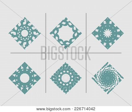 Mosaic Arabic Ornament. Vector Rhomb Emblems Collection. Retro Ornamental Design.