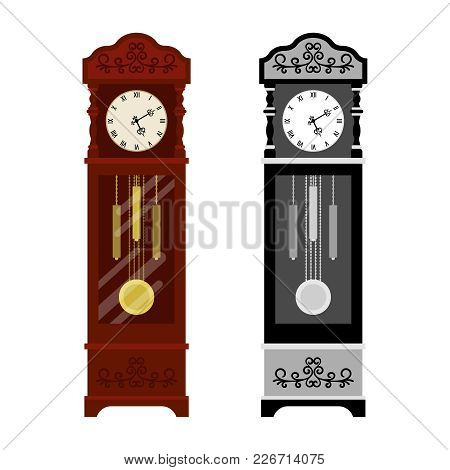 Analog Old Clock And Grayscale Version Isolated On White Background, Vector Illustration
