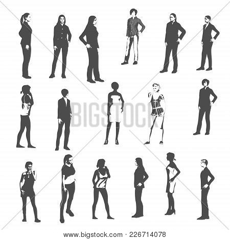 Fashion Women Silhouettes Collection. Various Pose And Cloth