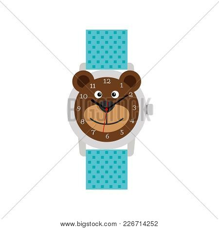 Cute Blue Hand Watch For Kid With Funny Bear Isolated On White, Vector Illustration