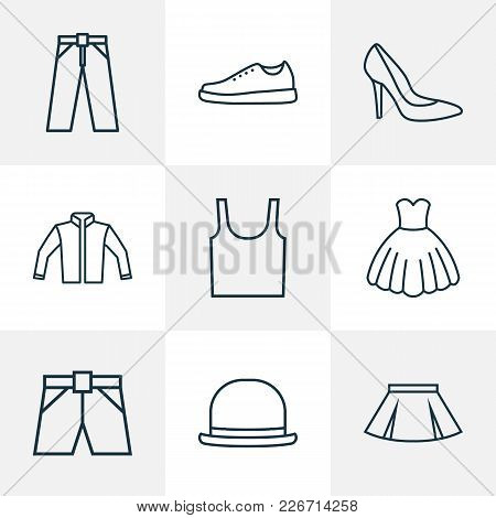 Dress Icons Line Style Set With Underwear, Evening Gown, Heels And Other Gumshoes Elements. Isolated