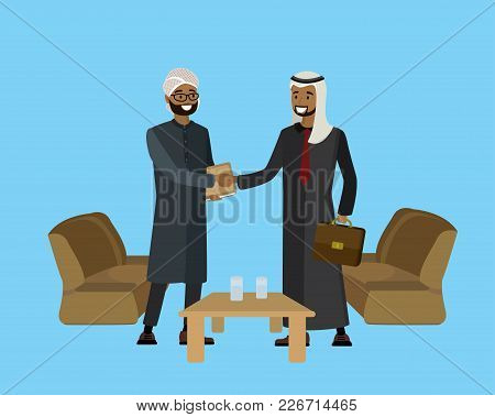 Arab Businessmen Shake Hands, Successful Negotiations, Cartoon Business Vector Illustration