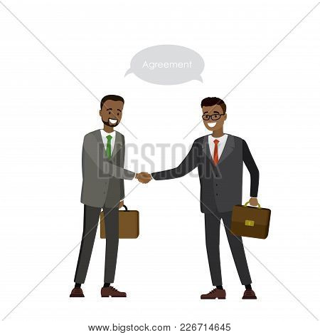 Two African American Businessman Shake Hands, Isolated On White Background, Cartoon Vector Illustrat