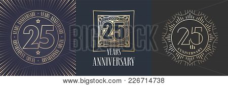 25 Years Anniversary Vector Icon, Logo Set. Graphic Round Gold Color Design Elements For 25th Annive