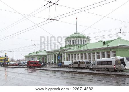 Murmansk, Russia - October 20th, 2017: Murmansk, A Facade Of Railway Station And The Area Near The S