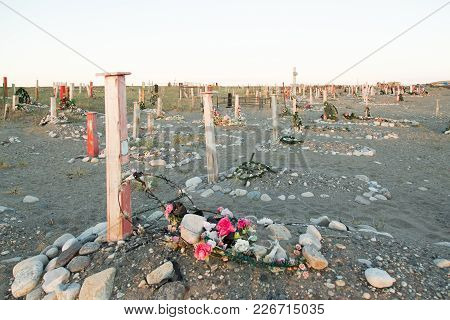 Lavrentiya, Chukotski Region, Russia - Settlement Lavrentiya, June 16, 2017: Crosses, Monuments And