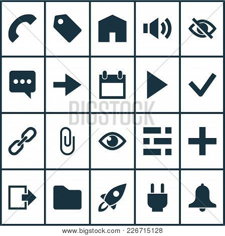 User Icons Set With Add, Link, Call And Other Statistic  Elements. Isolated  Illustration User Icons