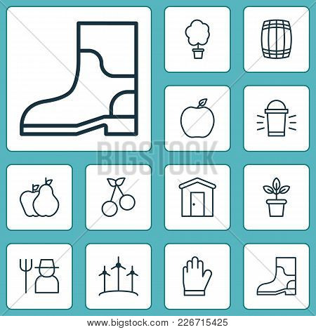 Gardening Icons Set With Garden Gloves, Gardening Shoes, Plant Pot And Other Hang Lamp Elements. Iso