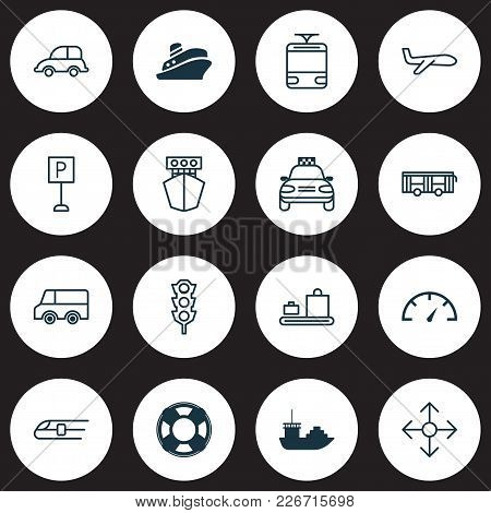 Transport Icons Set With Sea Rescue, Plane, Speedometer And Other Streetcar Elements. Isolated  Illu
