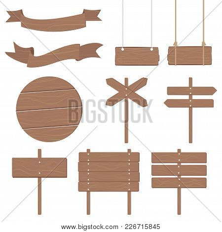 Wooden Signboards Other Different Shapes - Vector Icon