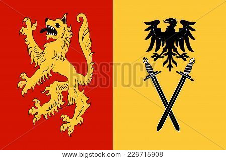 Flag Of Welver Is A Municipality In The District Of Soest, In North Rhine-westphalia, Germany. Vecto