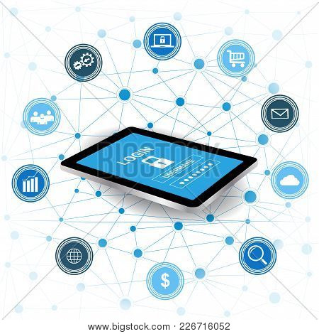 Cyber Security Concept.tablet With Security Protection And Icons For Web.internet Security. Protecte