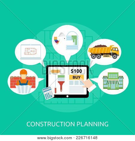 Construction Planning Conceptual Design | Set Of Great Flat Design Illustration Concepts For Buildin