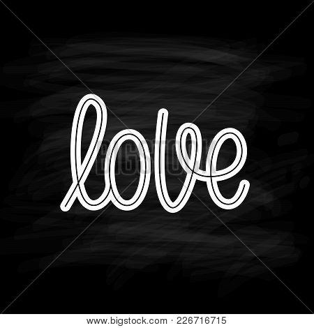 Love. Single Word. Modern Monoline Calligraphy Text. Element For Happy Valentine Day. Design Print F