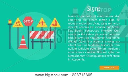 Signs Conceptual Banner | Set Of Great Banner Design Illustration Concepts For Building, Architect,