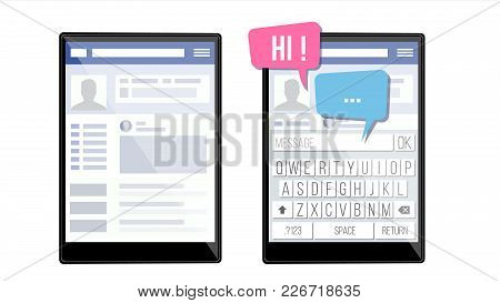 Social Page On Tablet Vector. Speech Bubbles. Application Profile. Friendship And Business Contacts.