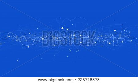 Abstract Tech Design Background. Engineering Technology Wallpaper Made With Lines And Dots. Futurist