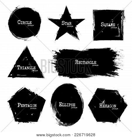 Set Of Geometry Shapes . Grunge Style . Vector .