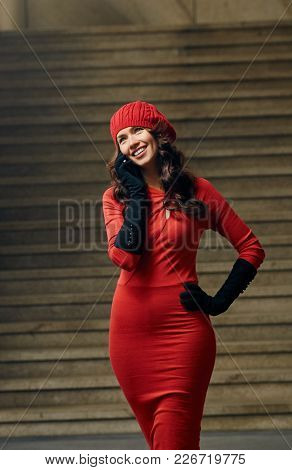 Attractive Happy Stylish Woman Talking On Mobile Phone