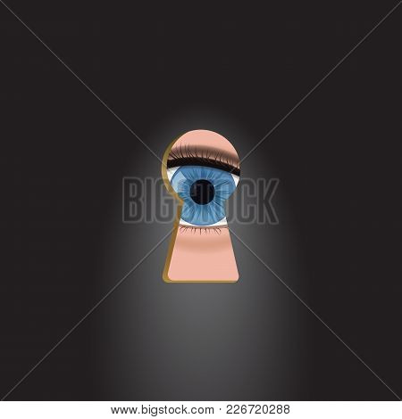 Blue Eyes In The Keyhole. Curious People Peek Vector Illustration.