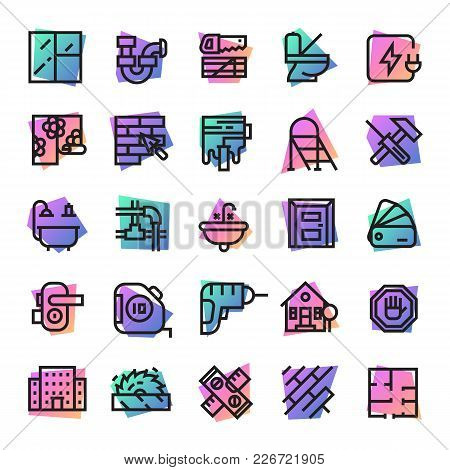Construction Icons Vector Builder Tools For Building And Repair House Illustration Constructive Equi