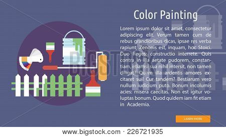 Color Painting Conceptual Banner | Set Of Great Banner Design Illustration Concepts For Building, Ar