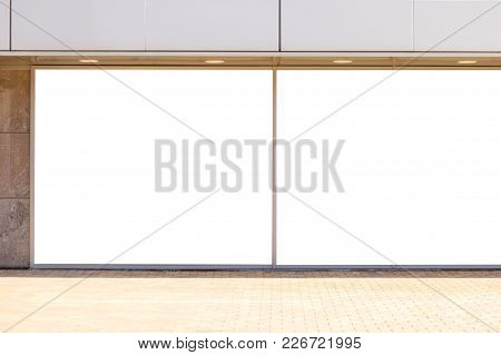 Blank Mock Up Of Store Street Showcase Window Outdoors.