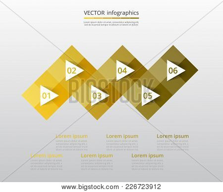 Step By Step Infographic. Yellow Template With 6 Numbers Can Be Used For Workflow Layout, Diagram, C