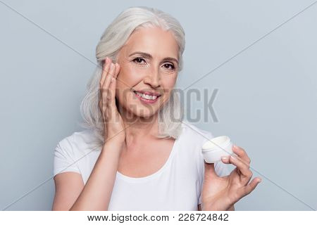 Perfect, Pretty, Woman Using Day, Night Cream, Holding Jar Of Cosmetic Product Looking At Camera Ove