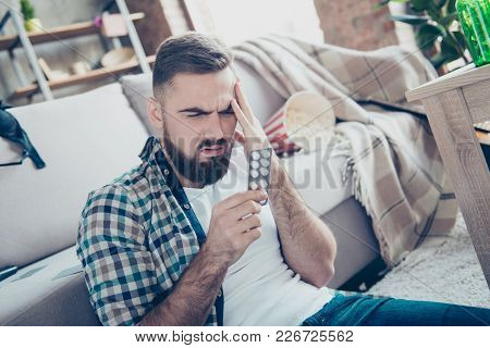 Close Up Portrait Of Sick Ill Feeling Unwell Sad Troubled Upset Bearded Guy Touching His Forehead An