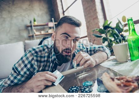 Close Up Portrait Of Crazy Mad Bearded Hipster Wearing Checkered Shirt He Is Feeling Ecstasy Because