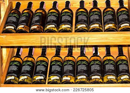 Mukacheve, Ukraine - May, 2017: Shelves With Wine In The Wine Store. Advertisment Of Chizay Wine, Za