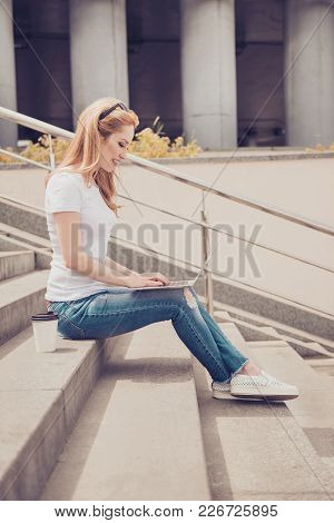 Vertical Profile Side View Photo Of Beautiful Cute Cheerful Excited Blonde Woman Wearing Ripped Jean