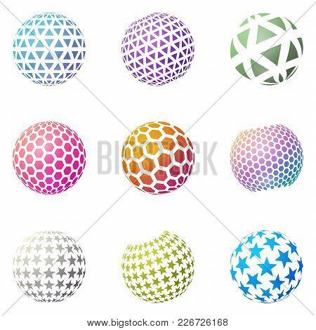 Set Of Minimalistic Shapes. Halftone Bright Color Spheres Isolated On White Background. Stylish Embl