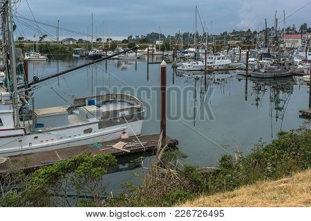 Brookings,oregon,usa - June 6, 2017 : Sailboats In The Harbor At Brookings