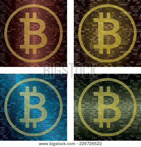 Set Of Four Backgrounds With Symbol Of Bitcoin. Cryptocurrency And Blockchain Technology Concept. Ve