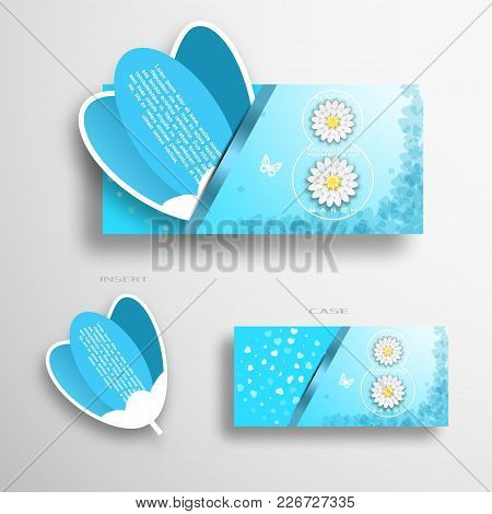 Vector Greeting Blue And White Envelope With Insert In The Form Of Blue Tulip For 8 Of March - Inter