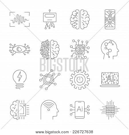 Future Technologies Icons. Ai, Quantum Computing, Robot, Iot, Smart Cpu And Other. Editable Stroke E