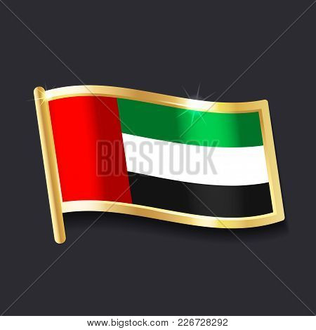 Flag Of  United Arab Emirates In The Form Of Badge, Flat Image