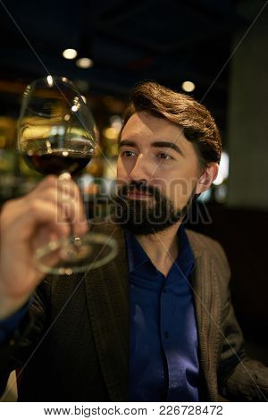 Professional Sommelier Looking At Red Wine In Glass