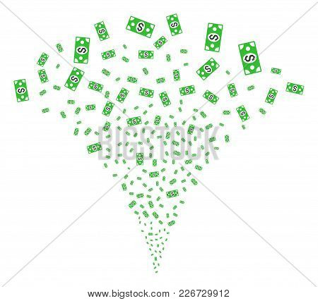Banknote Explosion Fountain. Vector Illustration Style Is Flat Iconic Symbols. Object Fountain Creat